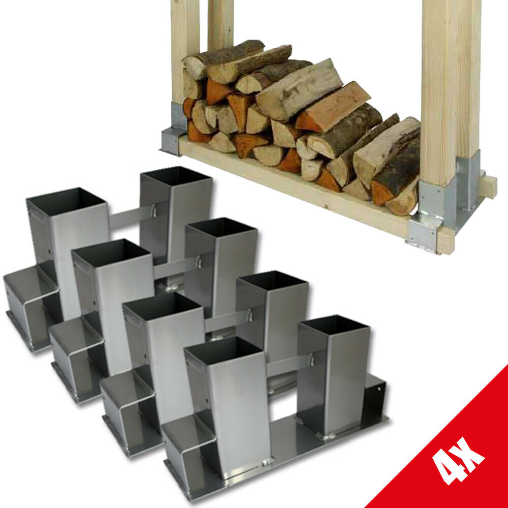 grafner 4er set holzstapelhilfe holz kaminholz stapel halter brennholz 42 ebay. Black Bedroom Furniture Sets. Home Design Ideas