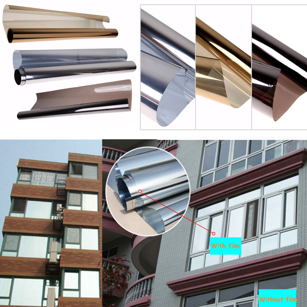 20 x10ft solar reflective one way mirror privacy window film insulation stickers ebay. Black Bedroom Furniture Sets. Home Design Ideas