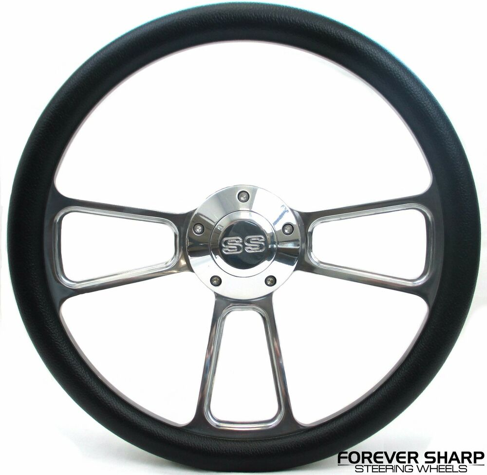 14 Quot Billet Aluminum Black Wrap Steering Wheel Set Chevy