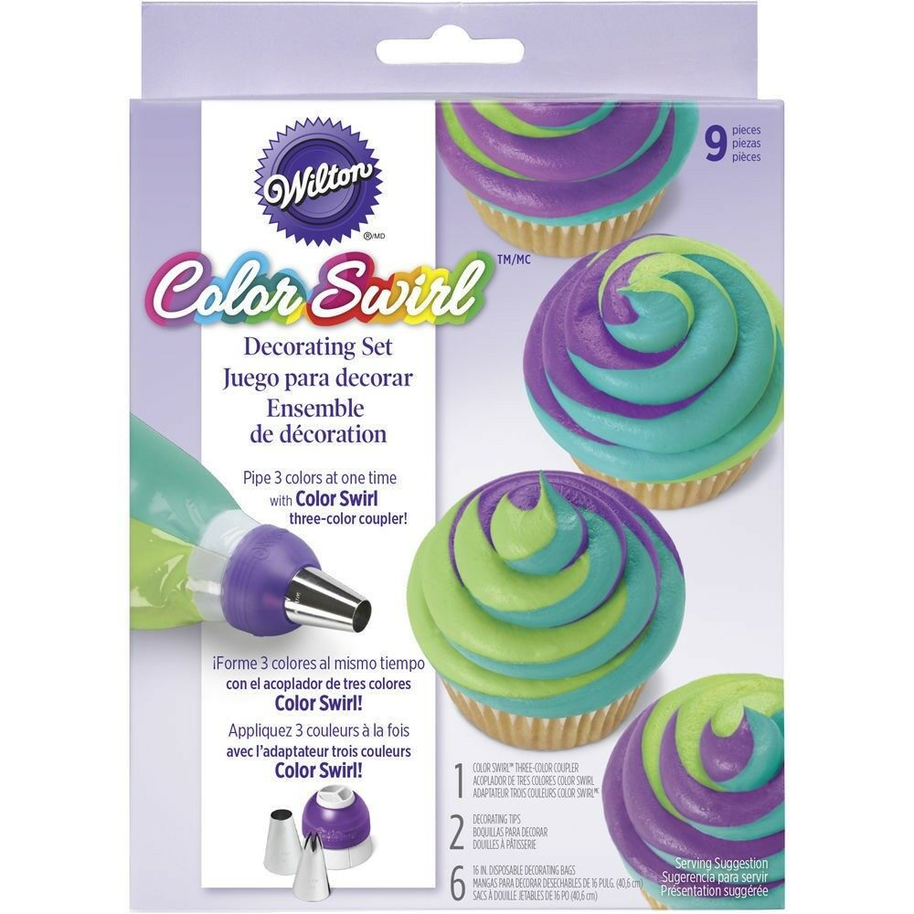 Wilton colorswirl 3 color coupler decorating kit 9 pc tri for Decoration kit