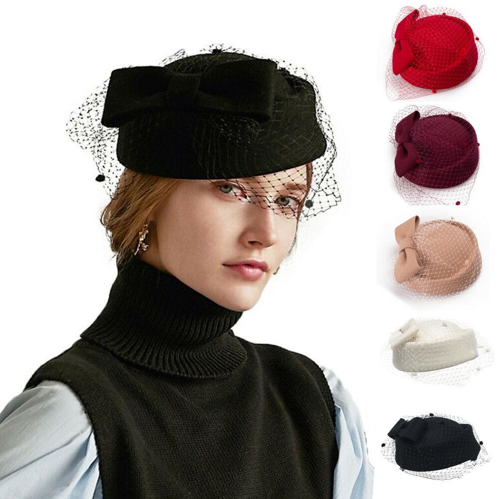 womens gatsby pillbox hat womens fascinator wool felt