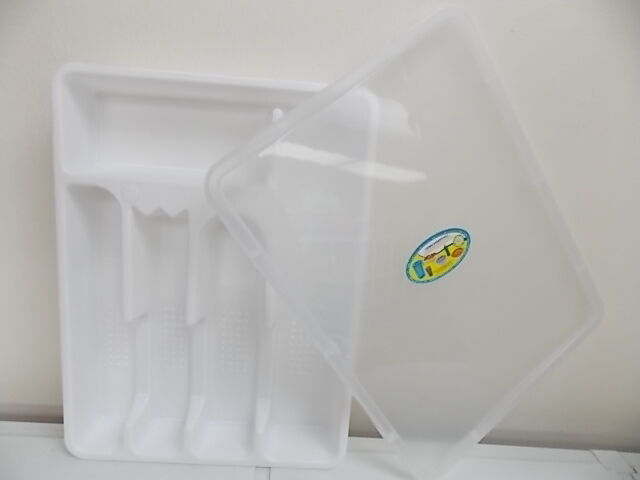Opif flatware cutlery drawer tray w lid plastic utesil for Cutlery storage with lid