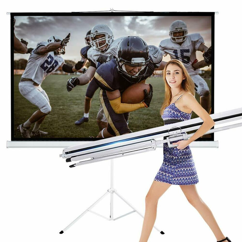 """New Portable 100"""" Projector 16:9 Projection Screen Tripod Pull-up Matte White TS 