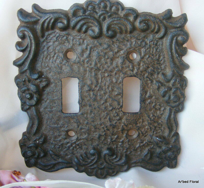 Cast Iron Double Switch Outlet Plate Cover Rustic Brown
