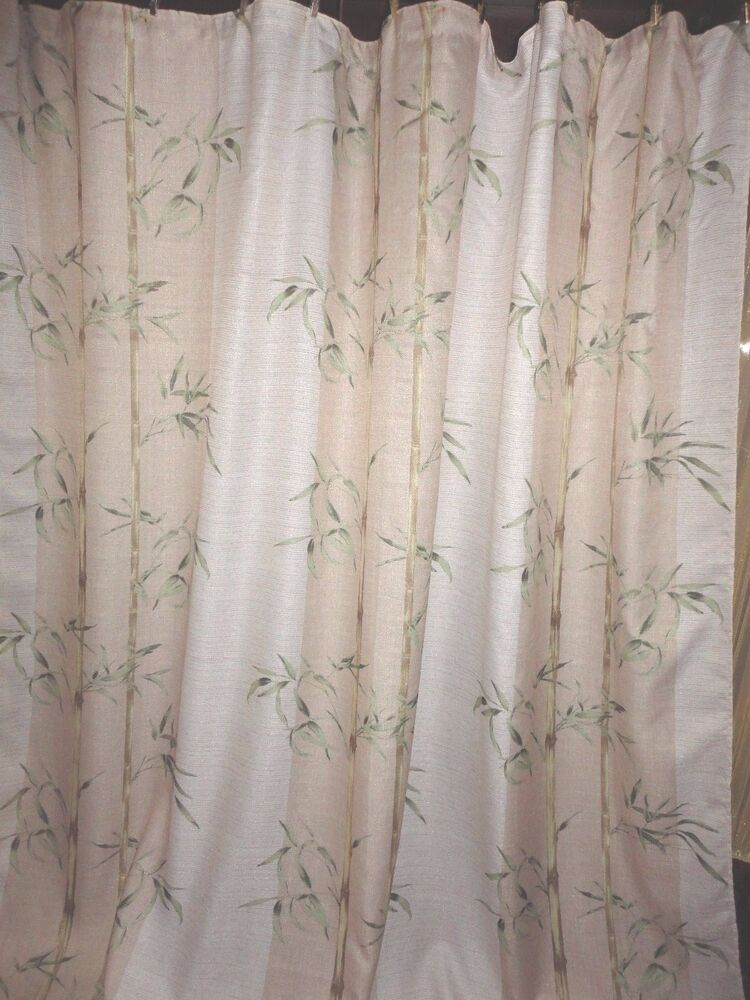 SPRINGS BAMBOO FABRIC SHOWER CURTAIN CREAM GREEN 68 X 68