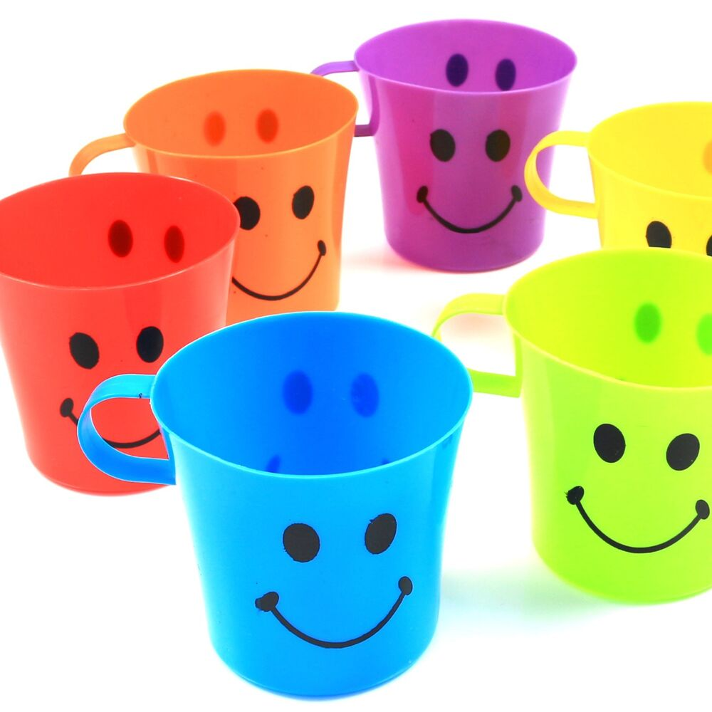 24x kids plastic smiley face mugs handle cups fun home - Cups and kids ...