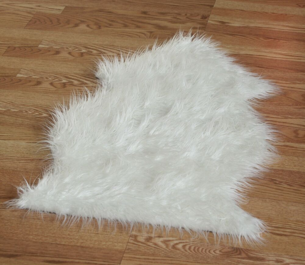White Long Hair Faux Sheepskin Fur Single Pelt Rug 2 X 3
