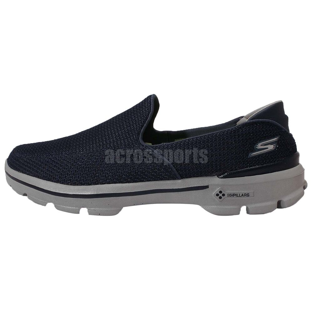 skechers go walk 3 go pillars navy grey mens slip on