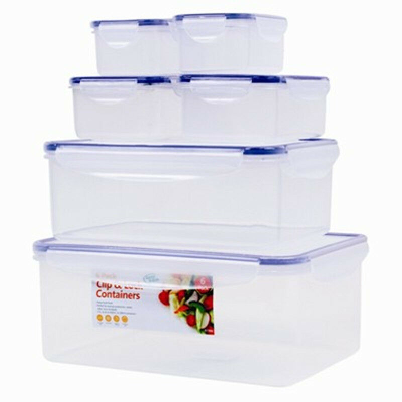 SET OF 6 KITCHEN FOOD STORAGE TUPPERWARE CONTAINER PLASTIC