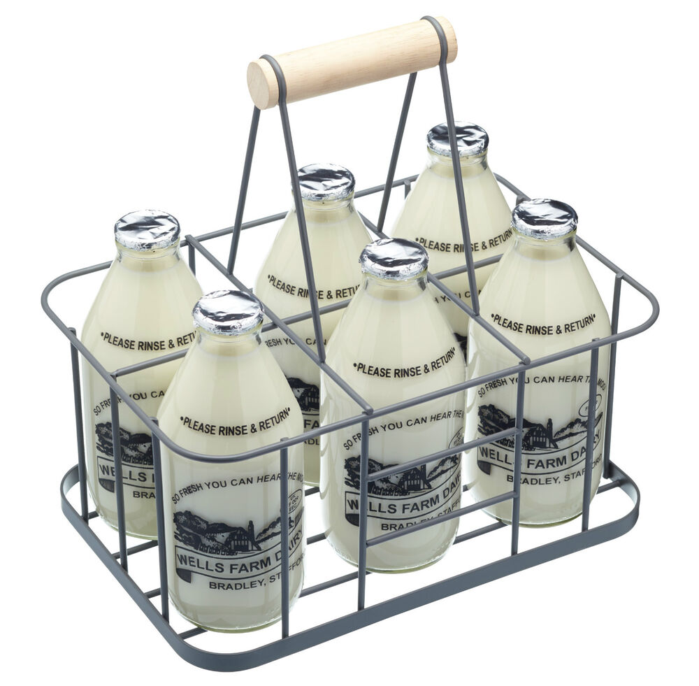 Living nostalgia vintage retro milk wine bottle carrier crate holder 6 hole ebay - Wire wine bottle carrier ...