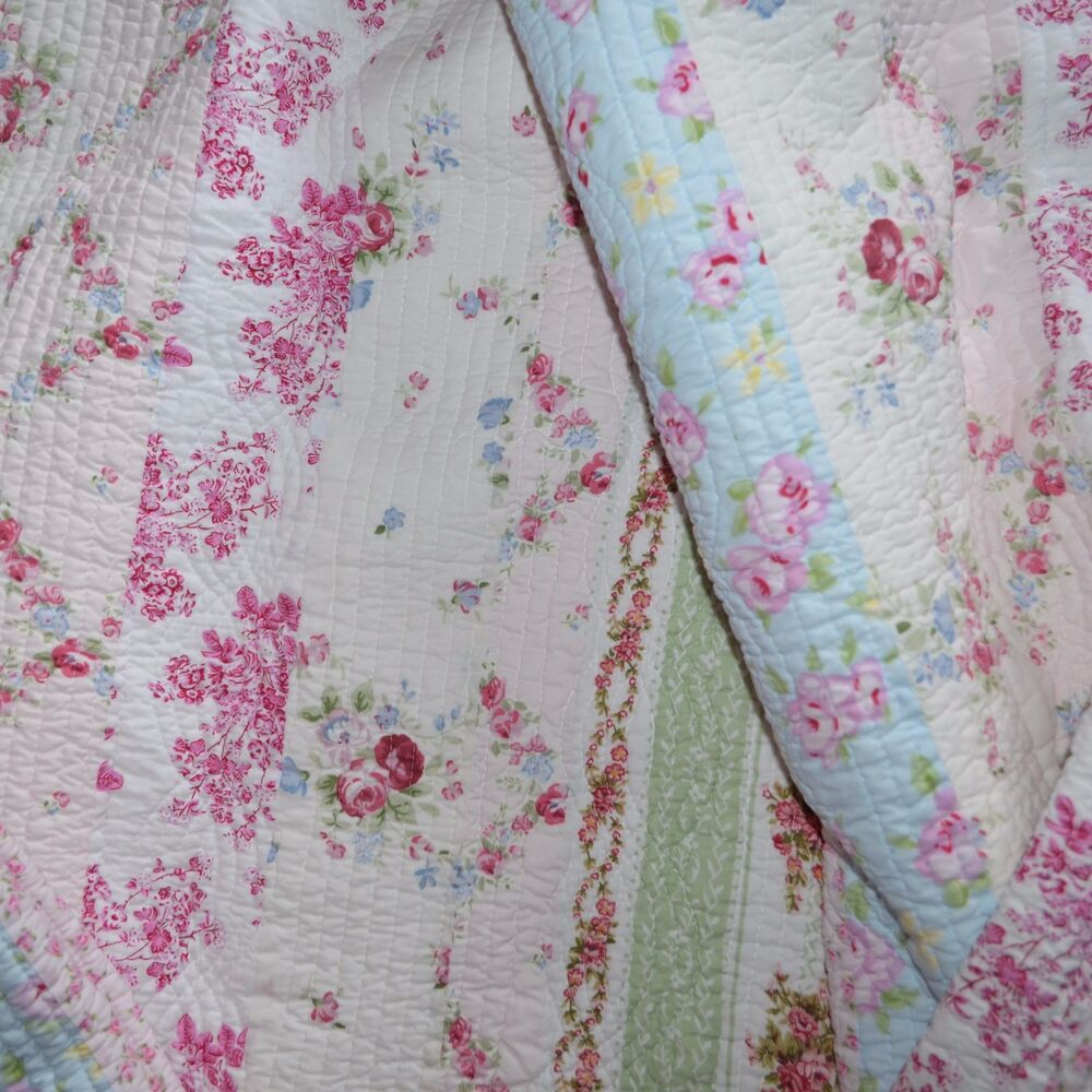 Lizzy Pink Blue White Green King Quilt 3pc Set Cottage