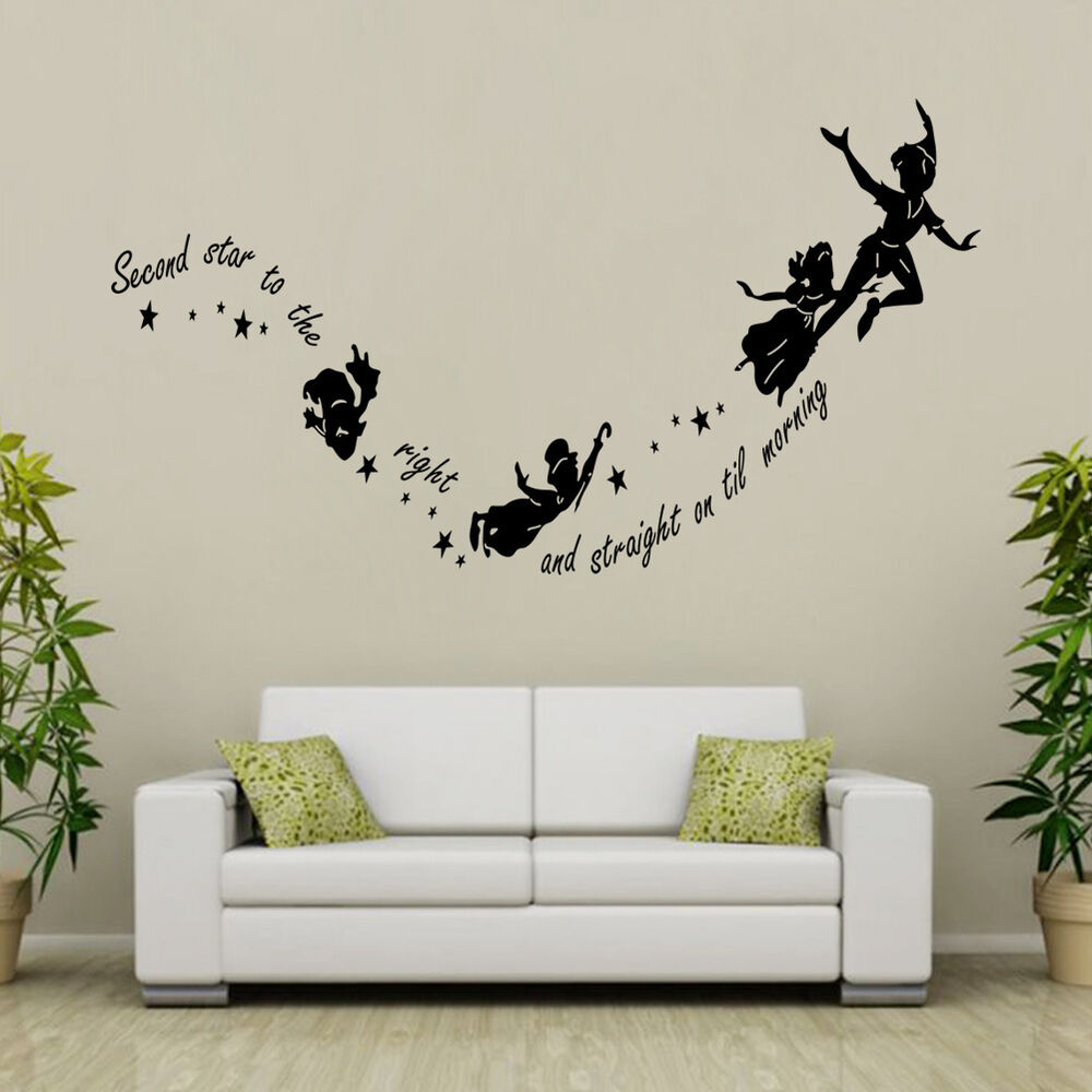 tinkerbell peter pan removable wall decal vinyl sticker mural kids room decor ebay. Black Bedroom Furniture Sets. Home Design Ideas