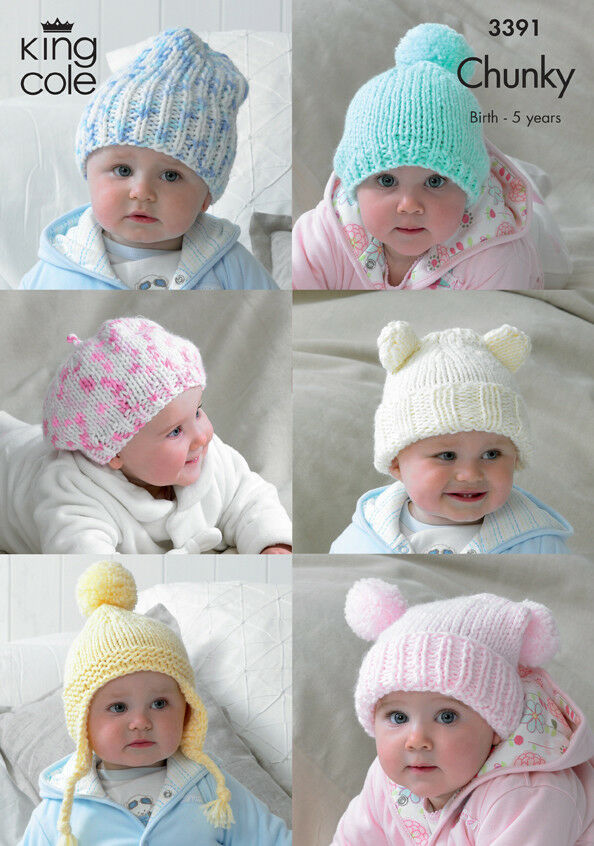 Details about King Cole Chunky Knitting Pattern Baby Hats Slouchy Beanie  Beret Helmet 3391 a1cfc53841a