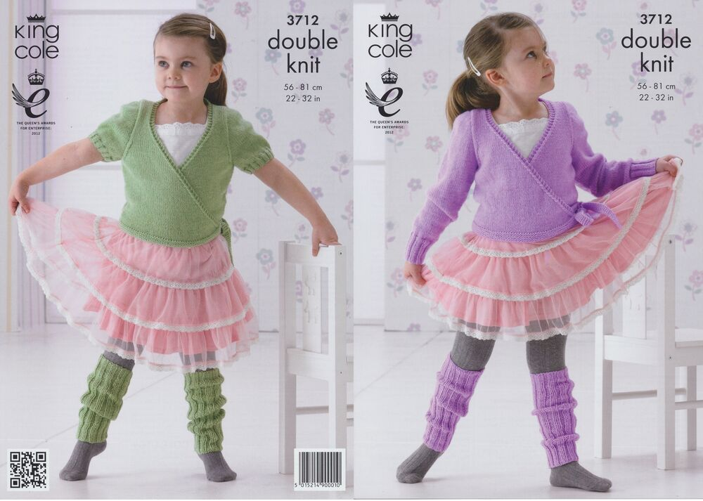 Girls DK Ballet Cardigans & Leg Warmers Knitting Pattern King Cole - 3712...