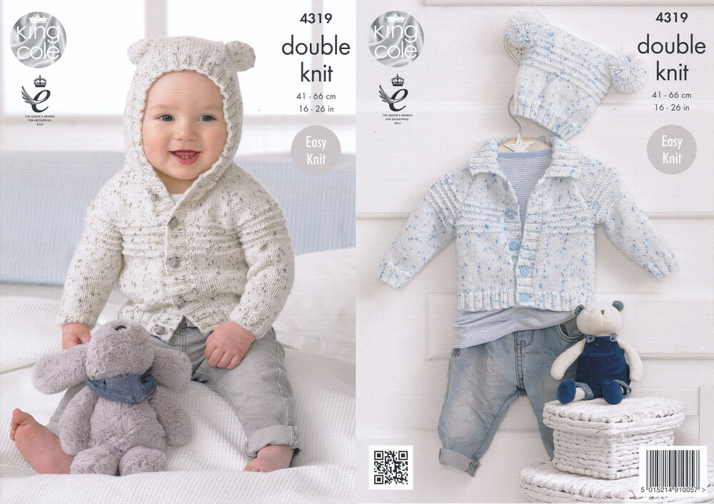 king cole double knitting pattern baby cardigans hat easy