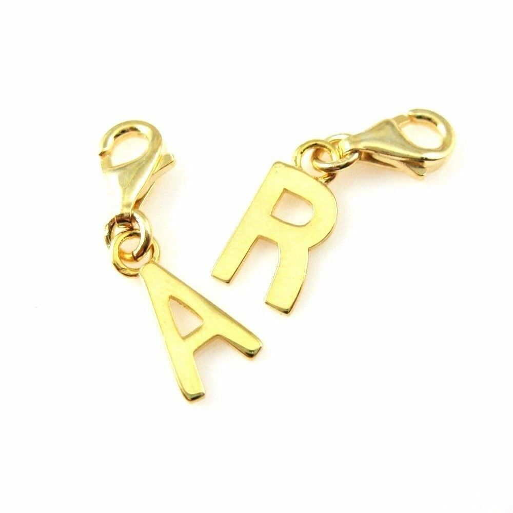 Gold Plated Sterling Silver Bracelet Letter Charms- A-Z