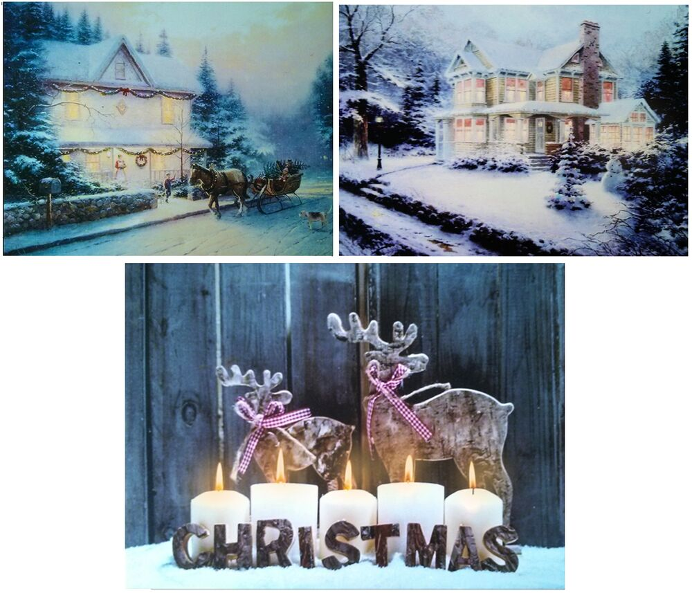 Christmas Wall Scene Decorations : Christmas led light up canvas pictures festive snow