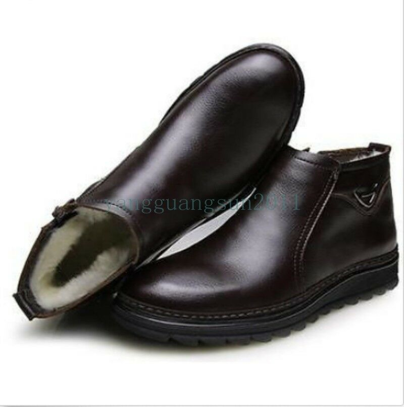 Fashion Men Casual Dress Loafer Fur Lined Chukka Leather