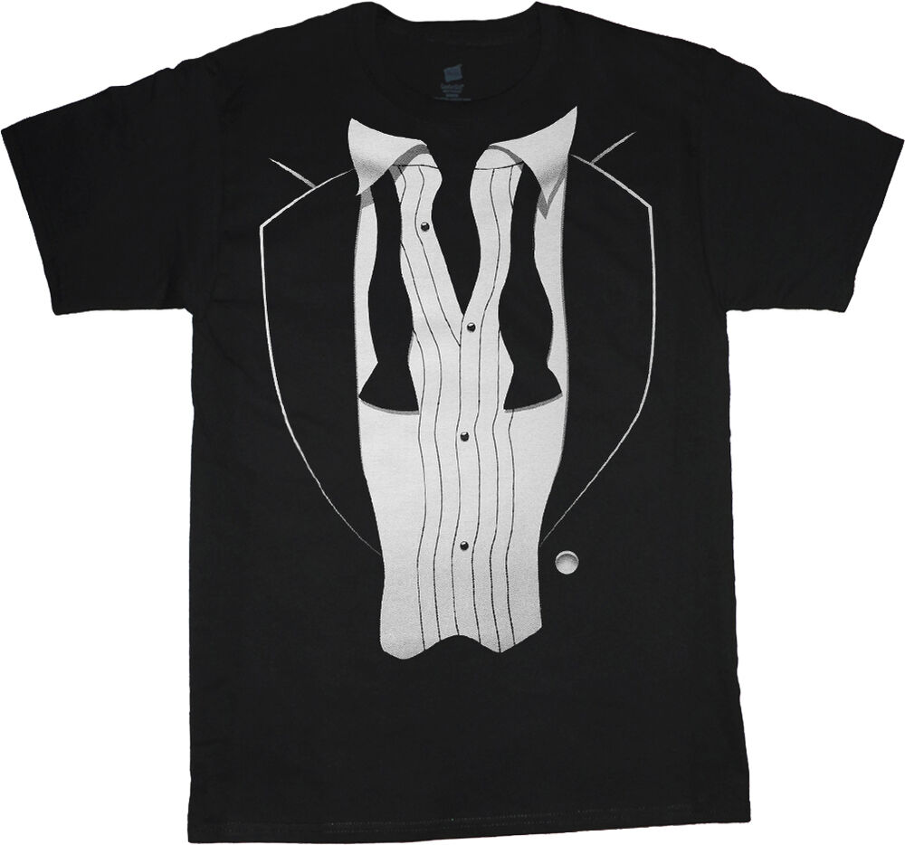 Tuxedo t shirt men 39 s black tux tee shirt wedding after for Black tuxedo shirt for men