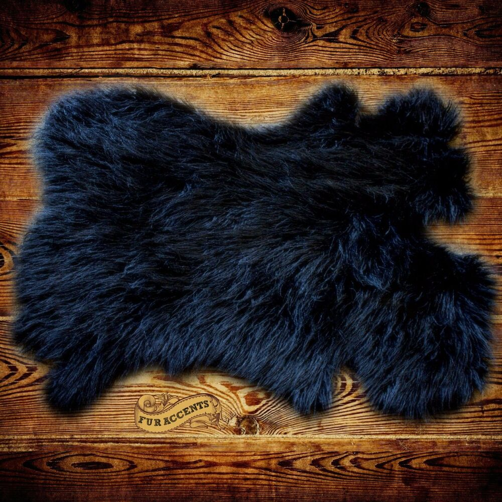 Shag Sheepskin Rug Black Mongolian Carpet Pelt Throw Rug