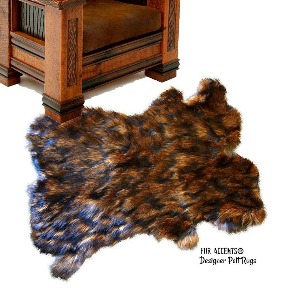 shag sheepskin rug wolverine bear skin carpet pelt throw rug faux fur accents ebay. Black Bedroom Furniture Sets. Home Design Ideas