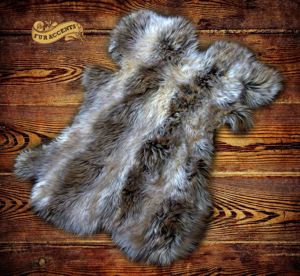 Shag Sheepskin Rug Light Gray Raccon Skin Pelt Throw Faux