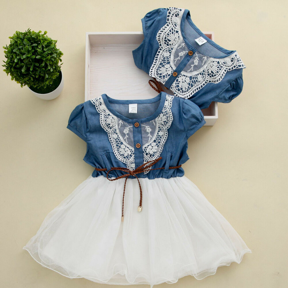2016 Princess Girls Baby Kids Lace Belt Denim Tulle Stitching Dresses Age 1-6Y | eBay