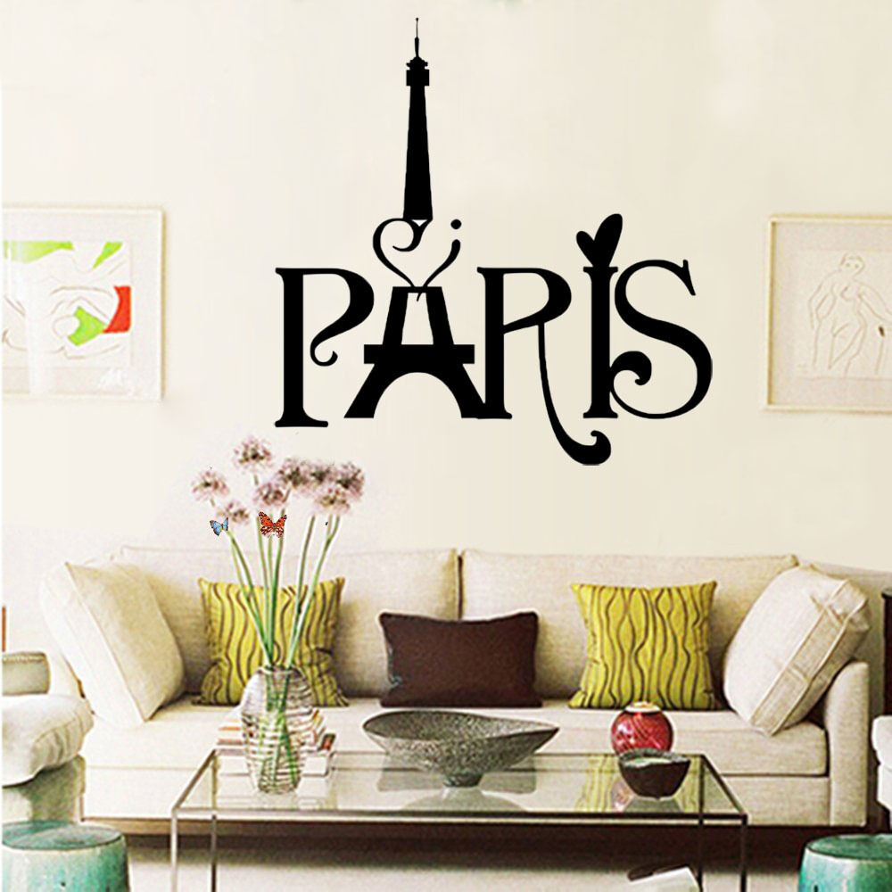 Paris Home Decor: I Love Paris Eiffel Tower Art Words Home Decor Vinyl Wall