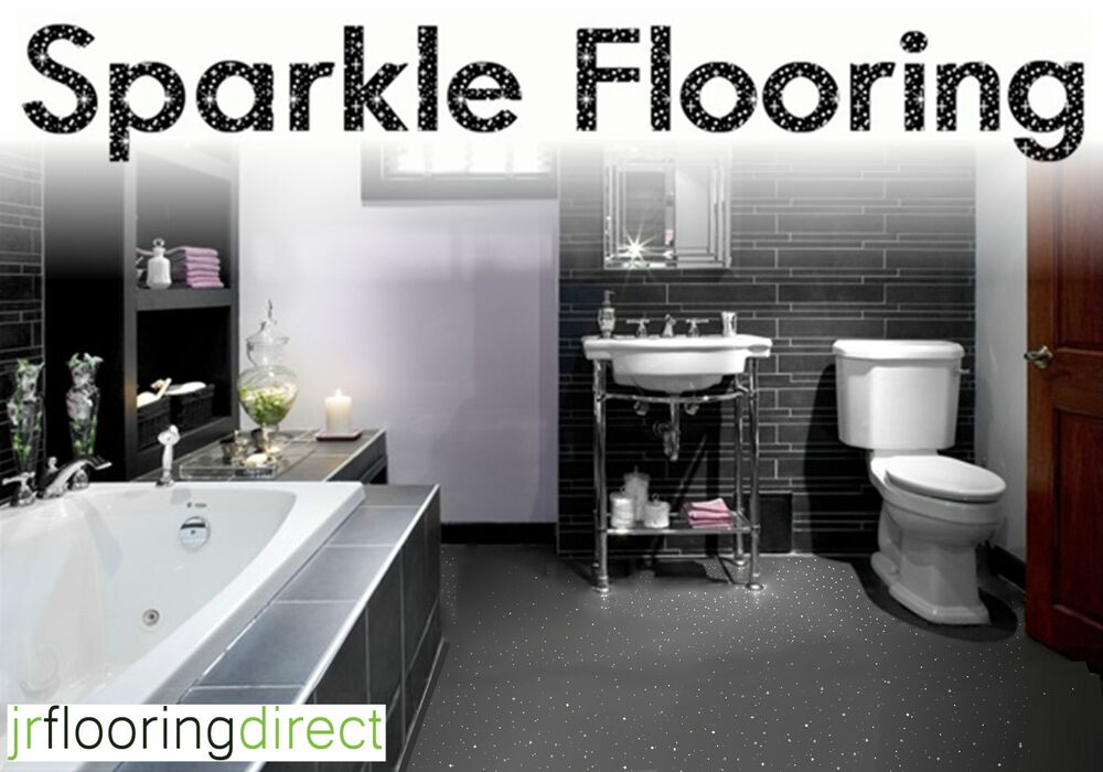 Grey Sparkly Bathroom Flooring Glitter Effect Vinyl