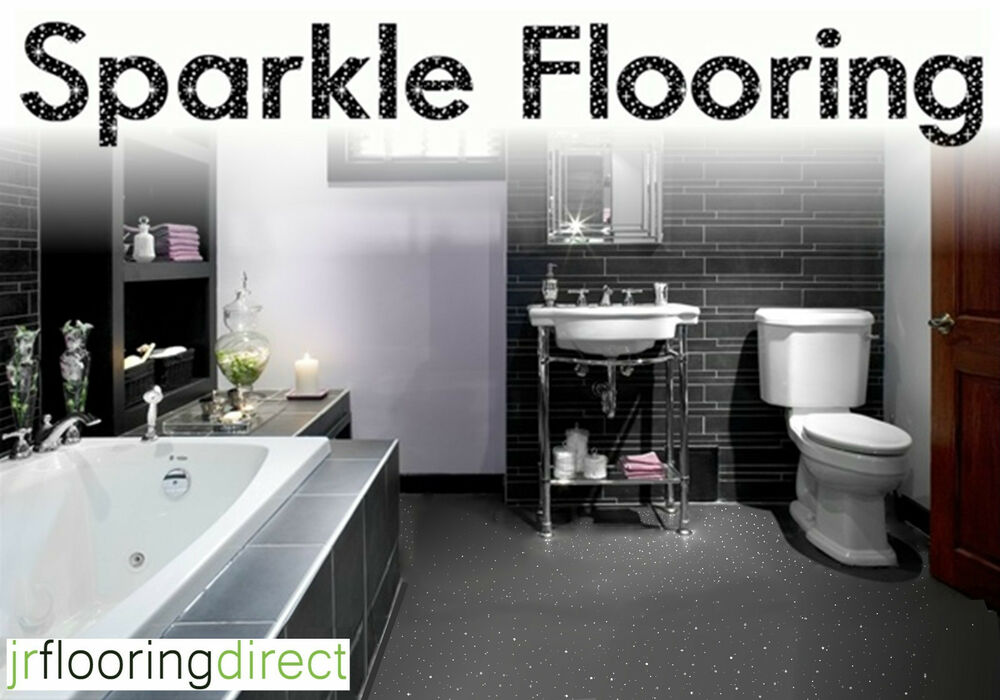 GREY Sparkly Bathroom Flooring / Glitter Effect Vinyl