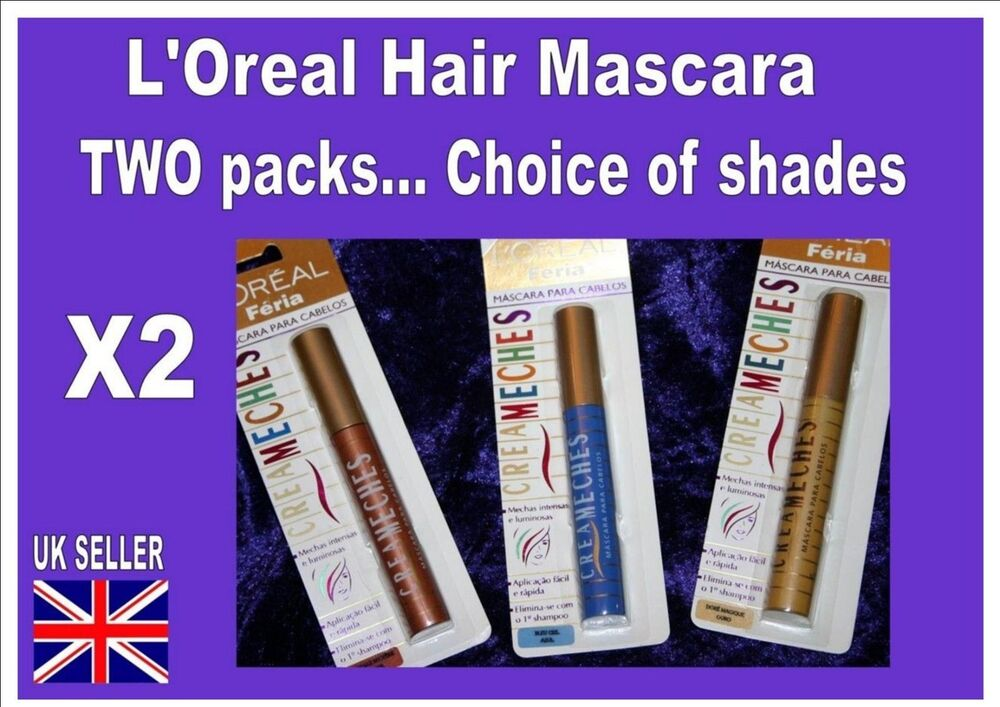L'Oreal Loreal HAIR MASCARA X2 choice BLUE COPPER GOLD dark blonde new temporary  | eBay