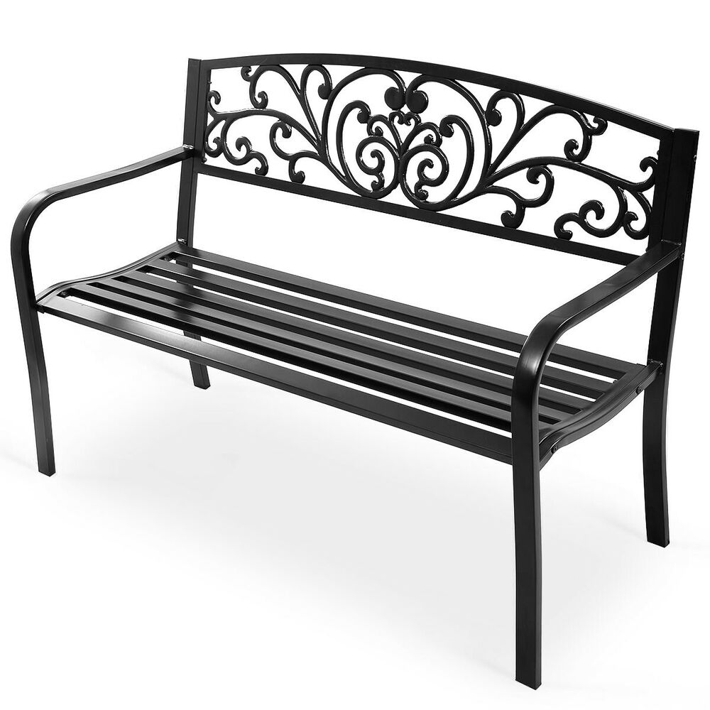 Goplus 50 Patio Park Garden Bench Porch Chair Steel Frame Cast Iron Backrest Ebay