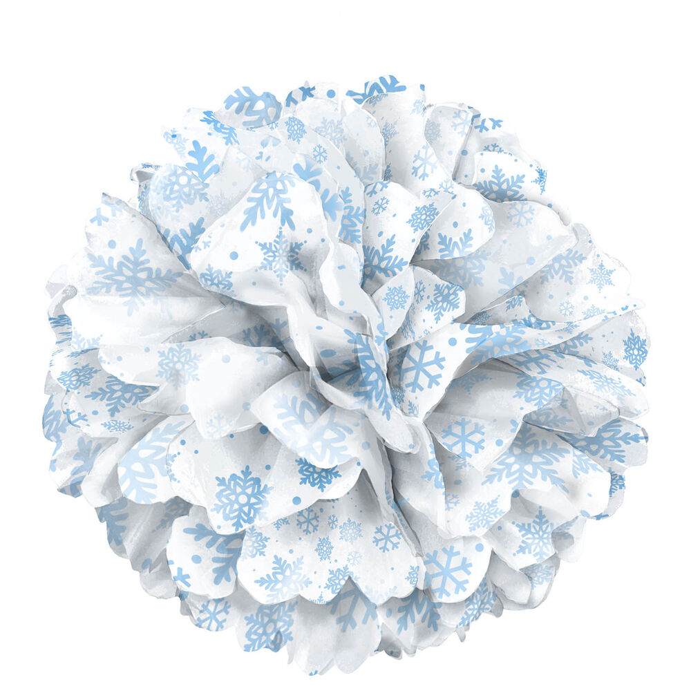 Paper tissue snowflake christmas decorations - Paper Tissue Snowflake Christmas Decorations 14 Quot Christmas Party Winter Elegant Shimmer Snowflakes Paper Puff