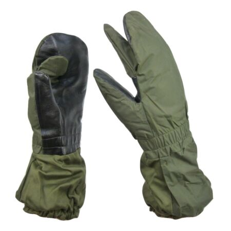 img-French Army Military NATO Olive Green Trigger Finger Mitts Mittens Gauntlets J9