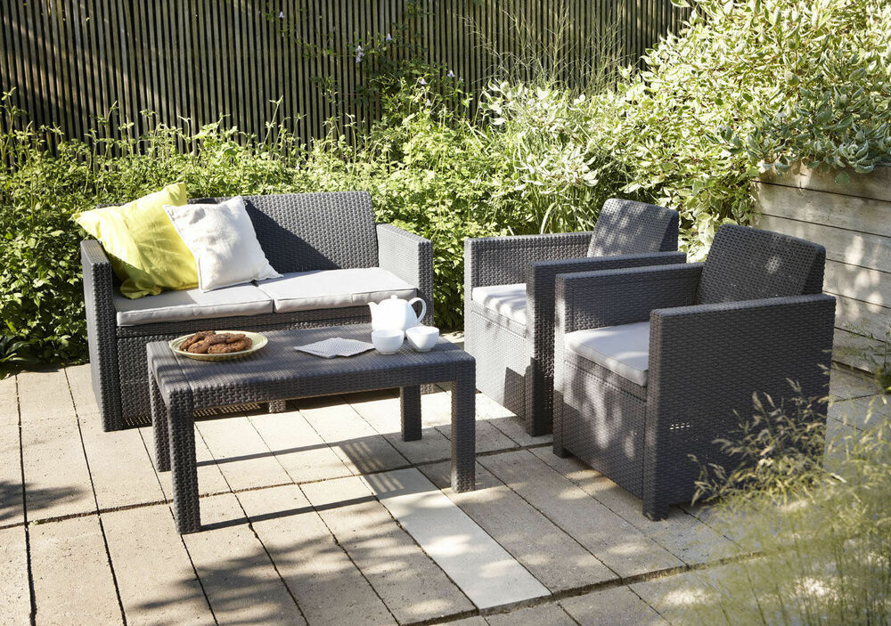 gartenm bel set allibert merano kunststoff sitzgruppe rattan optik wintergarten ebay. Black Bedroom Furniture Sets. Home Design Ideas