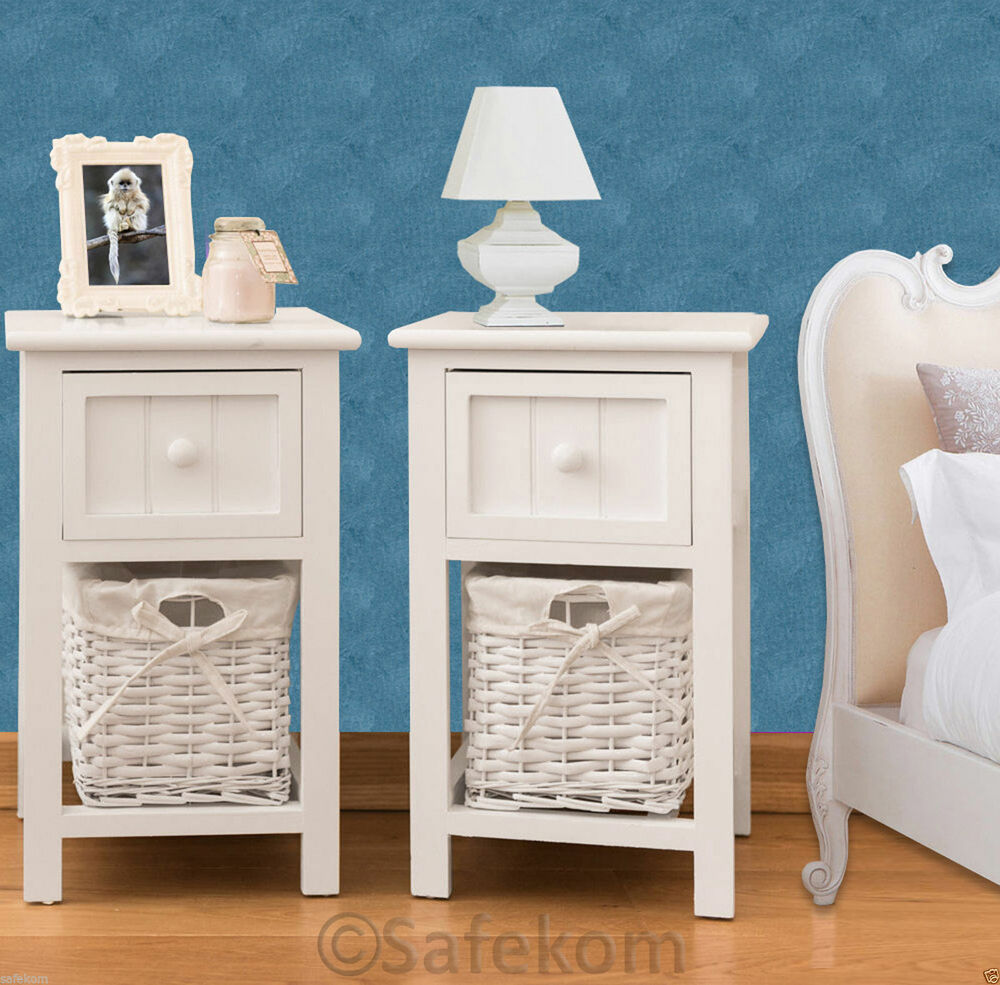 pair of shabby chic white bedside units tables w wicker storage basket bedroom ebay. Black Bedroom Furniture Sets. Home Design Ideas