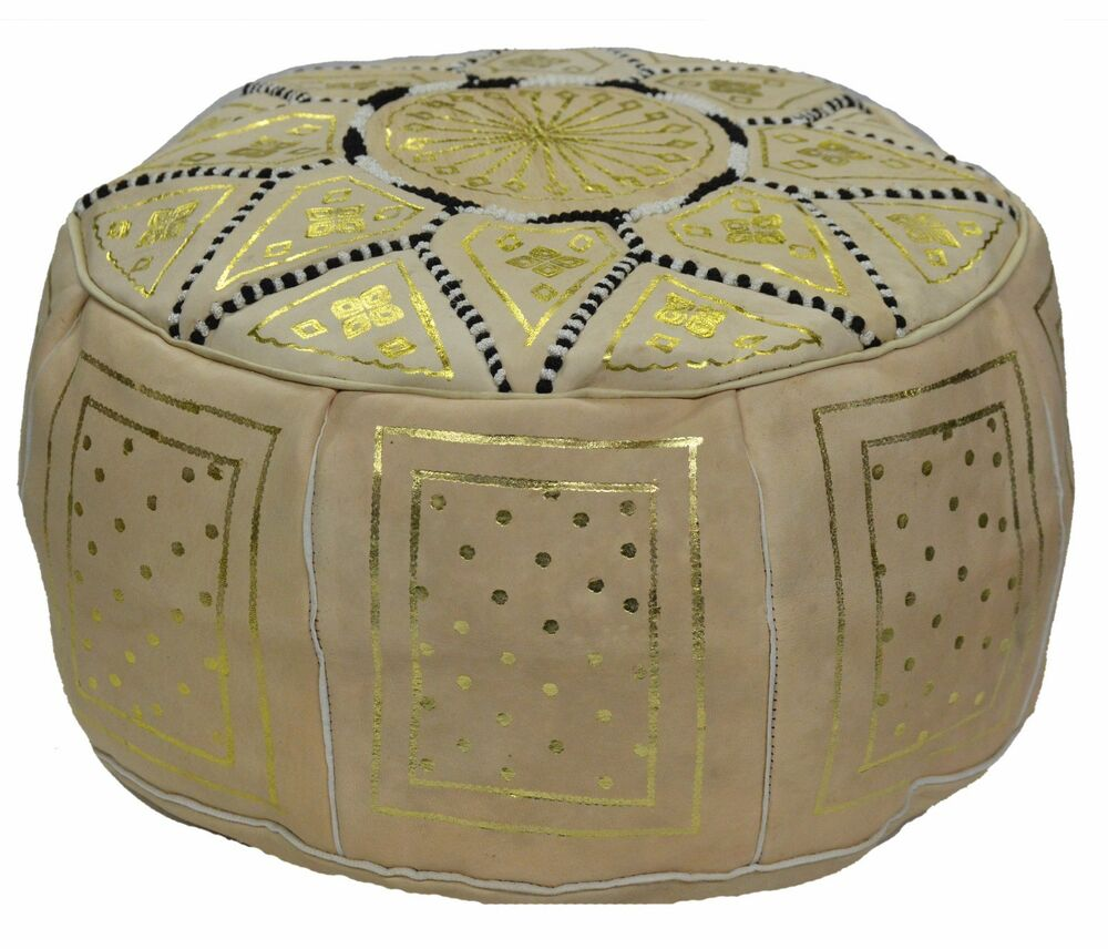 moroccan handmade 100 leather pouf pooff pouff hassack ottoman footstool new ebay. Black Bedroom Furniture Sets. Home Design Ideas