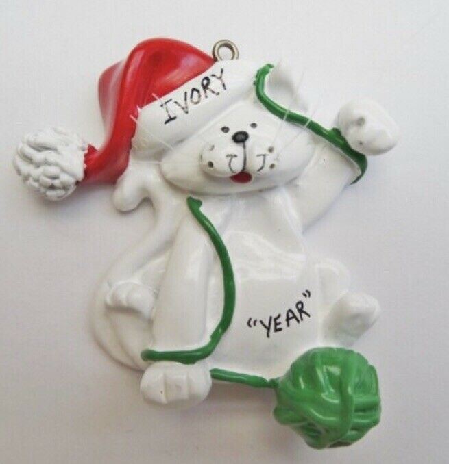 Personalized Cat with Yarn Christmas Ornament | eBay