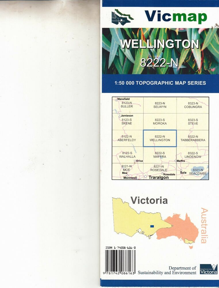 Wellington 8222 N 1 25 000 Scale Vicmap Topographic Map Brand New