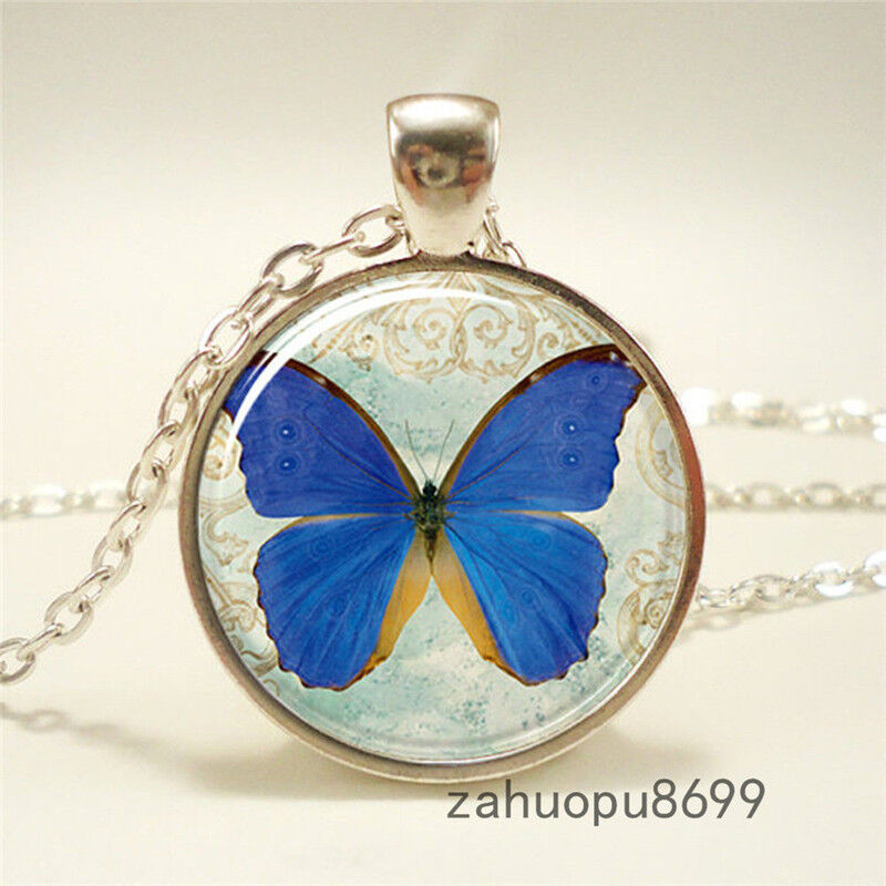 Vintage New Butterfly Gift Cabochon Silver Plated Glass Chain Pendant Necklace Ebay