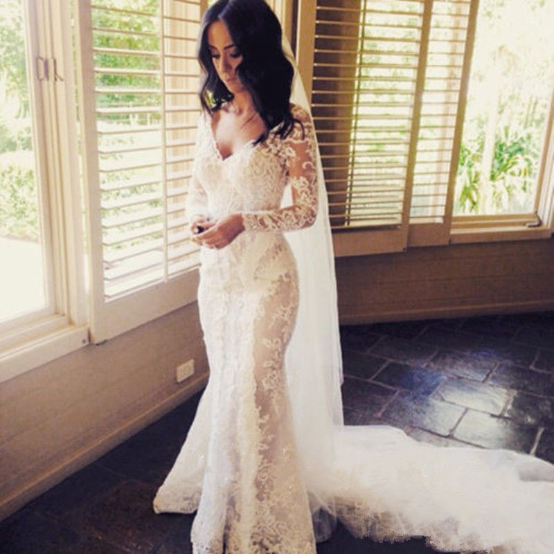 Vintage lace wedding dresses long mermaid appliques bridal for Custom mermaid wedding dress