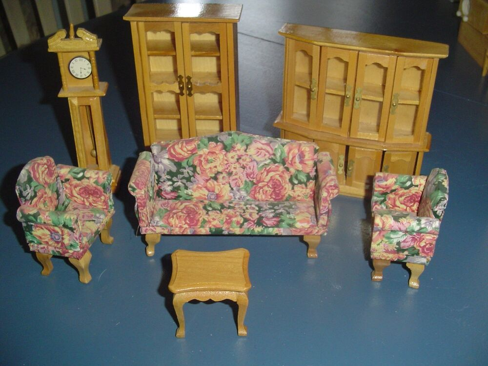 7 Pc Living Room Set Wood Doll House Furniture Ebay