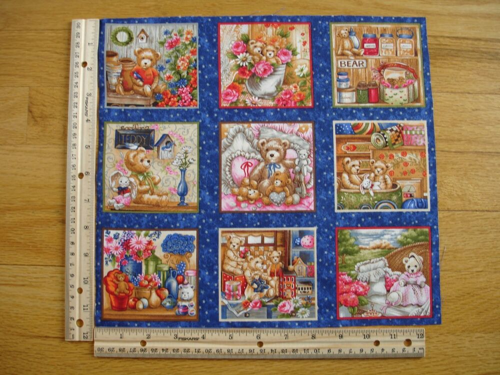 Childrens teddy bears bunnies flowers cotton quilt fabric for Cotton childrens fabric