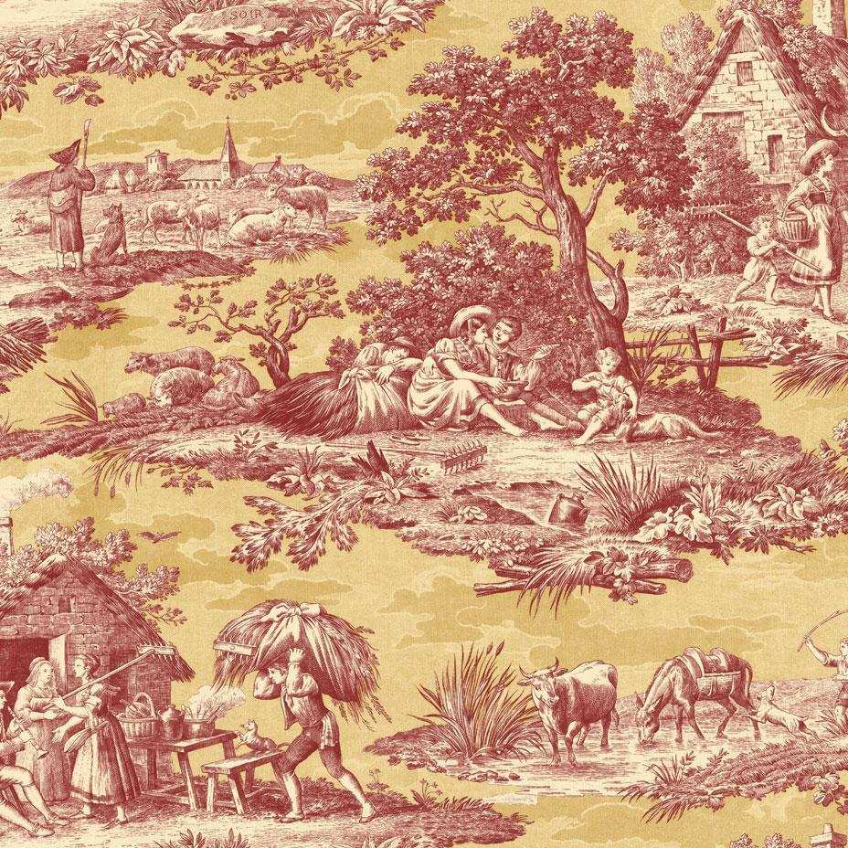Wallpaper designer french country life toile rust red - Chambre toile de jouy ...
