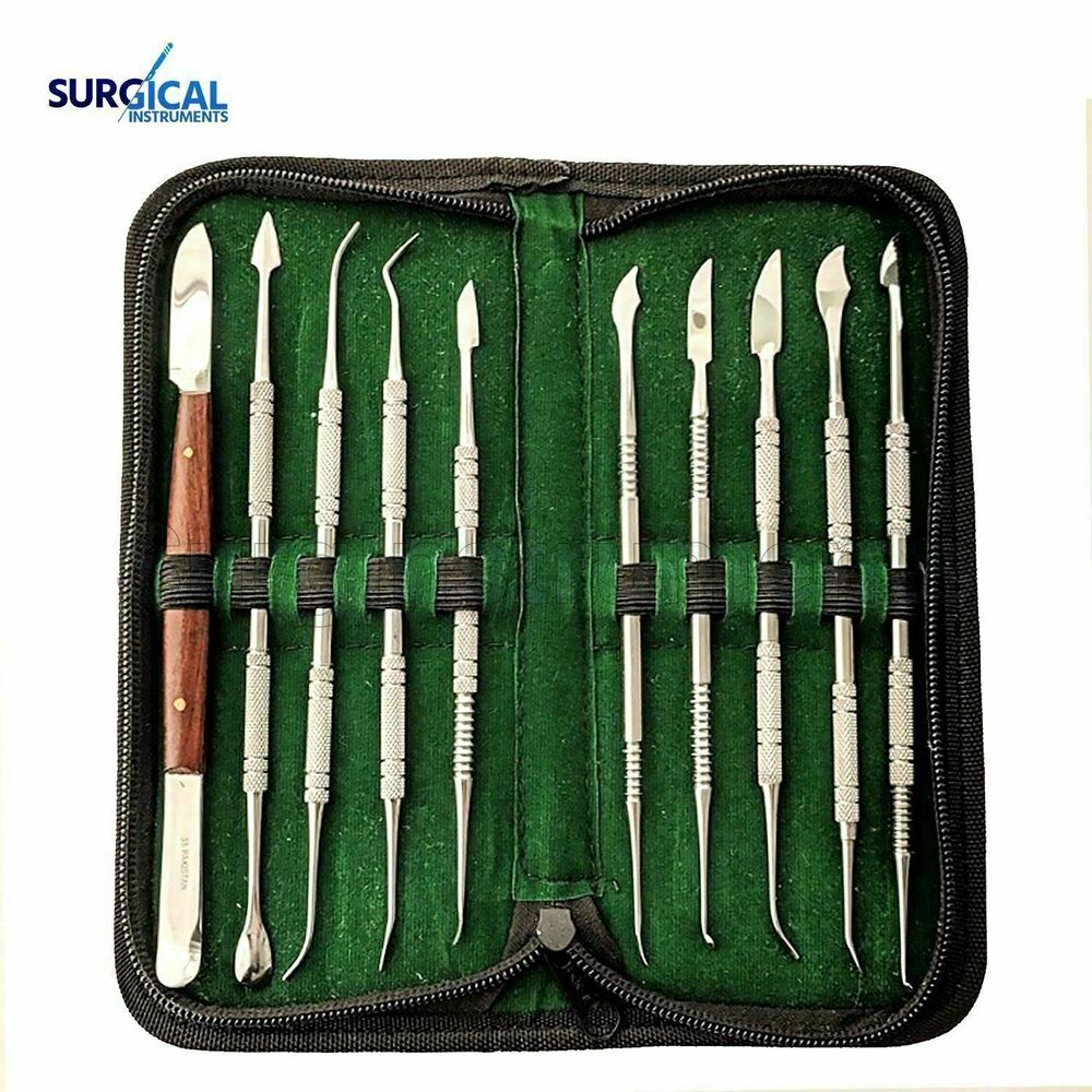 Stainless steel wax carving tool set surgical dental