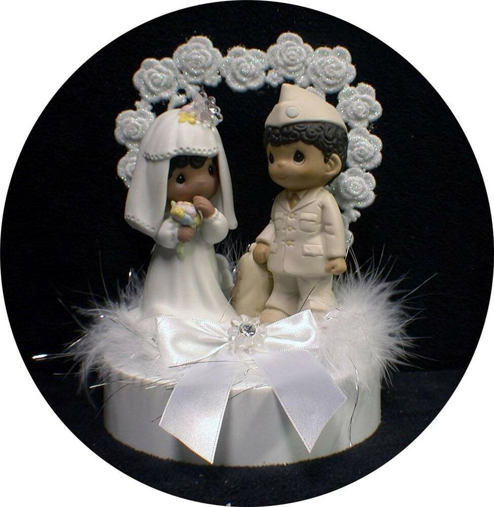 wedding cake toppers african american bride and groom american army navy marine groom soldier 26375