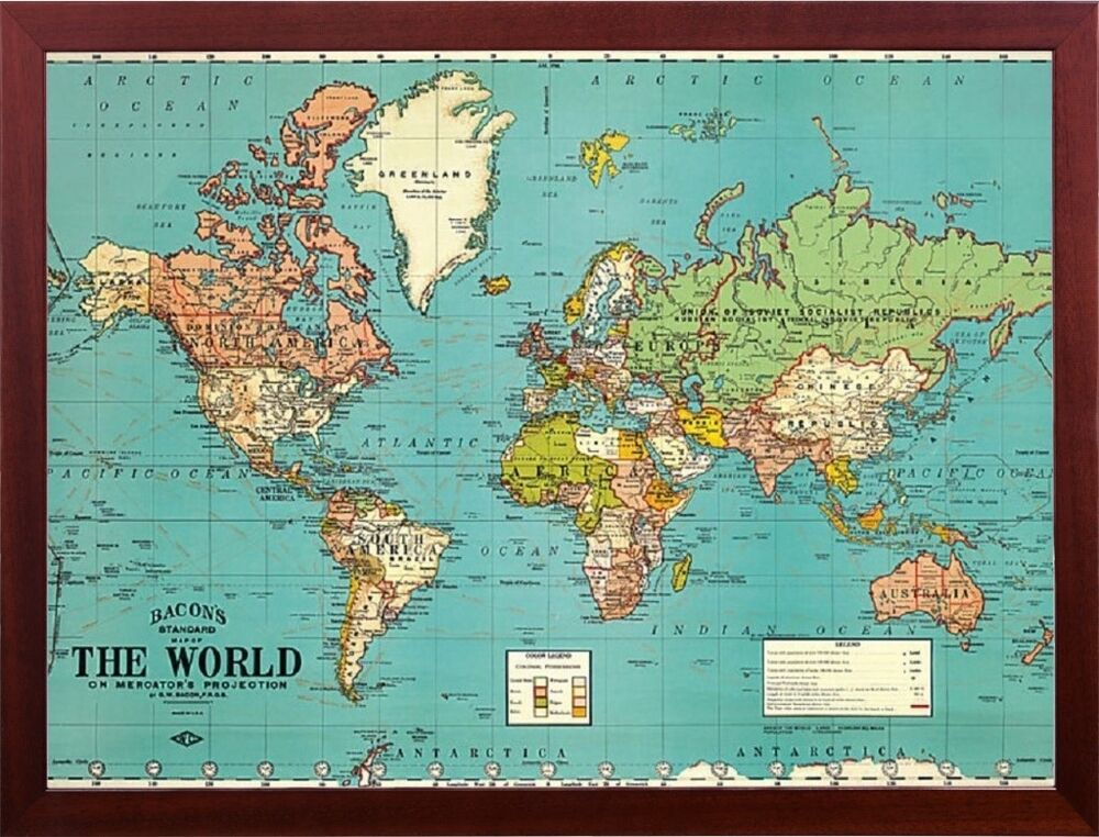 Bacons Old Map Of The World Map Parchment Paper In Walnut