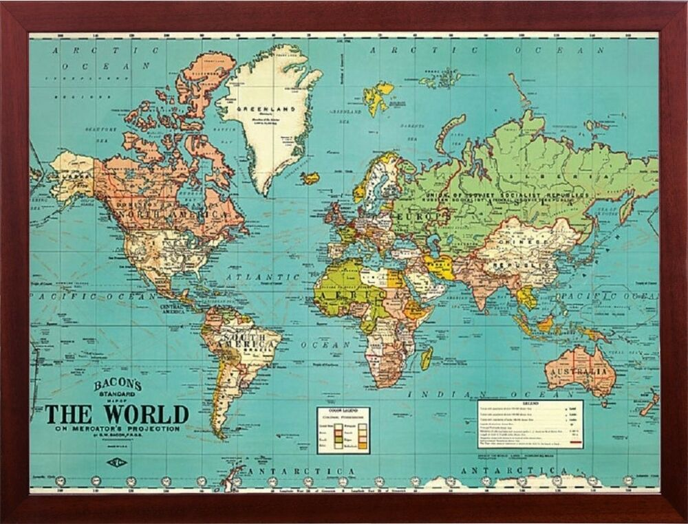 bacons old map of the world map parchment paper in walnut wood frame wall decor ebay. Black Bedroom Furniture Sets. Home Design Ideas
