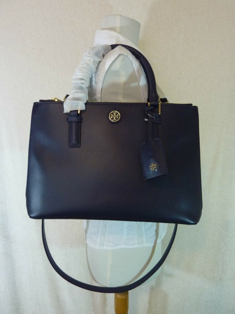tory burch navy blue saffiano leather robinson mini double zip tote 495 ebay. Black Bedroom Furniture Sets. Home Design Ideas