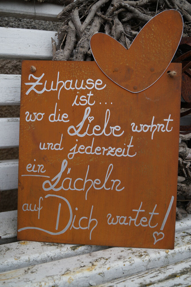 edelrost tafel zuhause spruch garten metall tafel rost schild text herz geschenk ebay. Black Bedroom Furniture Sets. Home Design Ideas